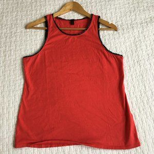 J. CREW Flame Red Tank Top Black Faux Leather Trim